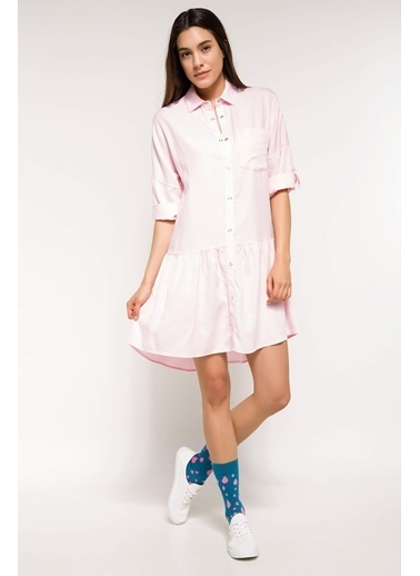 DeFacto Gömlek Elbise Pembe